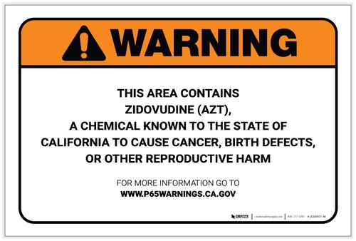 Warning: Prop 65 Zidovudine (AZT) - Label