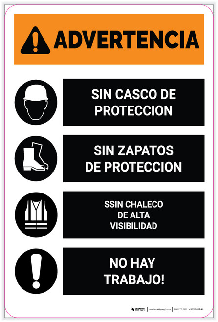 Warning: No PPE No Job Spanish Portrait - Label
