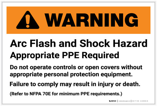 Warning: Arc Flash and Shock Hazard - Appropriate PPE Required Landscape - Label