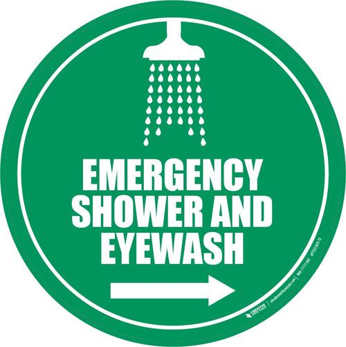 Emergency Shower and Eyewash Floor Sign: Right Arrow