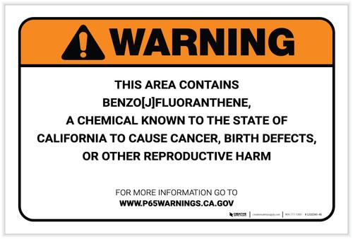 Warning: Prop 65 Benzo [J] fluoranthene - Label
