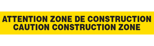 ATTENTION ZONE de CONSTRUCTION  - Barricade Tape (Case of 12 Rolls)