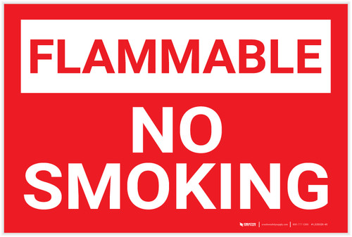 Flammable No Smoking Red Landscape - Label