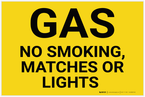 Gas No Smoking Matches Or Lights Landscape - Label