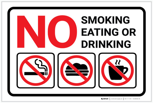 No Smoking Eating Or Drinking with Icons Red Landscape - Label