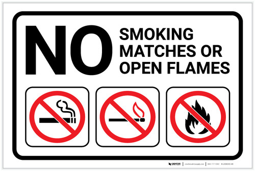 No Smoking Matches Or Open Flames with Icons Landscape - Label
