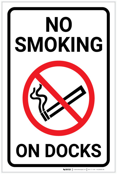 No Smoking On Docks with Icon Portrait - Label