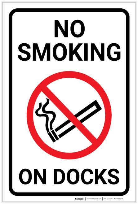 No Smoking On Docks with Icon Portrait - Label