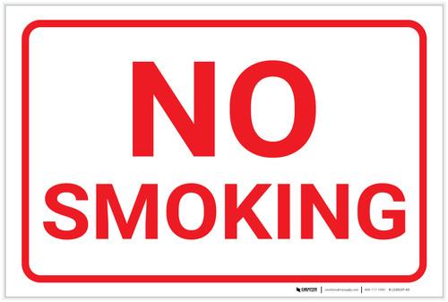 No Smoking White Landscape - Label