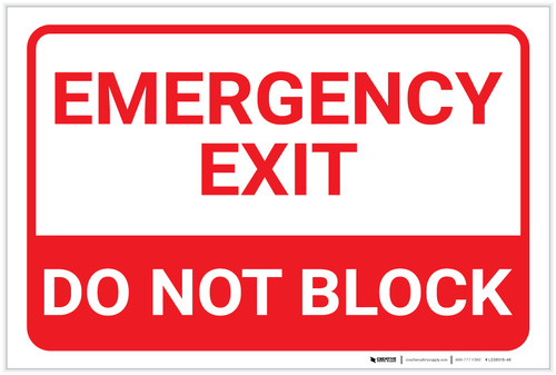 Emergency Exit Do Not Block Landscape - Label