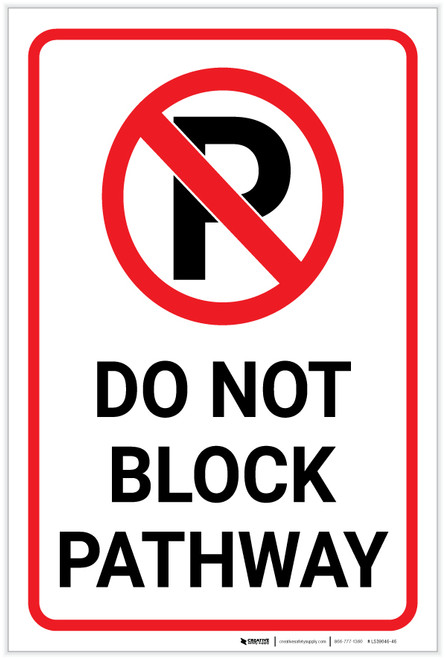 Do Not Block Pathway with Parking Icon Portrait - Label