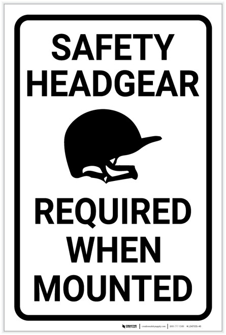 Safety Headgear Required when Mounted - Horse Riding - Label