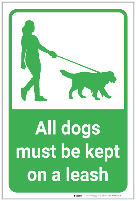 All Dogs Must Be Kept On A Leash with Icon Portrait - Label