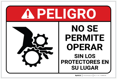 Danger: Do Not Operate Without Guards With Graphic Spanish - Label