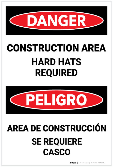 Danger: Construction Area - Hard Hats Required Bilingual - Label