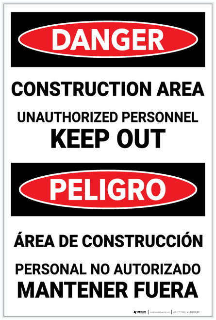 Danger: Construction Area - Unauthorized Personnel/Keep Out - Label