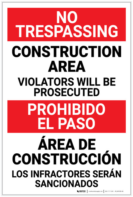 Danger: Construction Area - Violators Will be Prosecuted Bilingual - Label