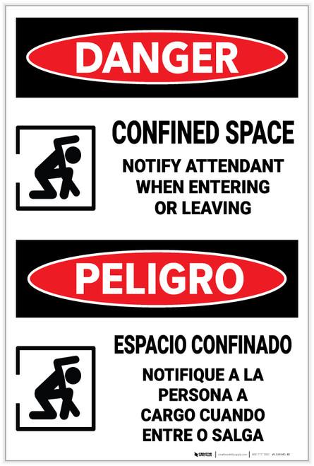 Danger: Confined Space Notify Attendant Entering Bilingual - Label