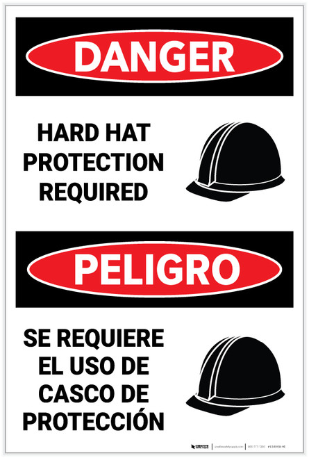 Danger: Hard Hat Protection Required with Icon Bilingual - Label