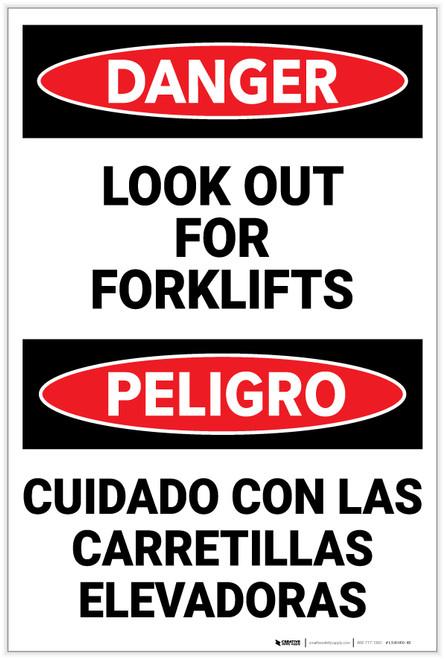 Danger: Lift Truck Forklifts Bilingual - Label