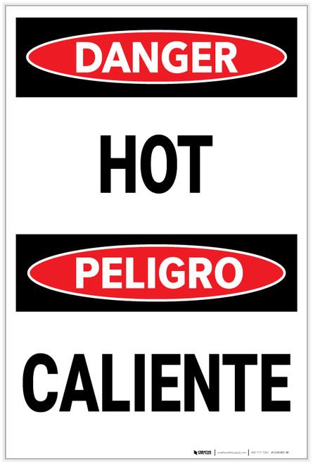 Danger: Hot/Caliente Bilingual - Label