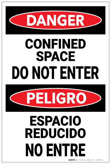 Danger: Confined Space Do Not Enter Bilingual Spanish - Label