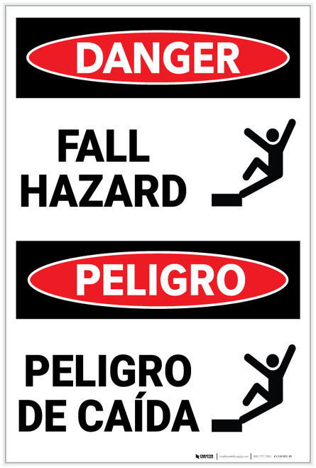 Danger: Fall Hazard With Graphic Bilingual Spanish - Label