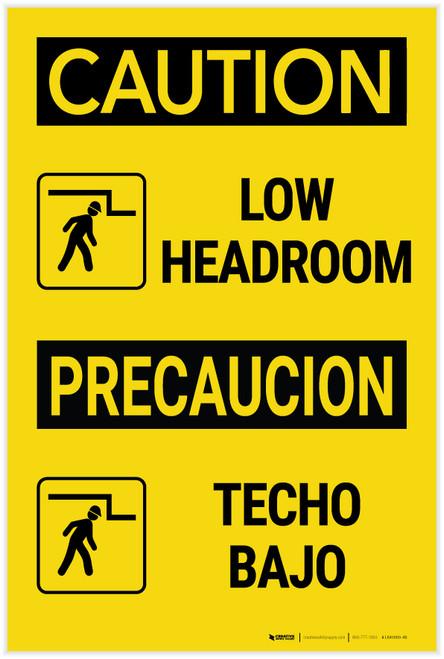 Caution: Low Headroom with Icon Bilingual Spanish - Label