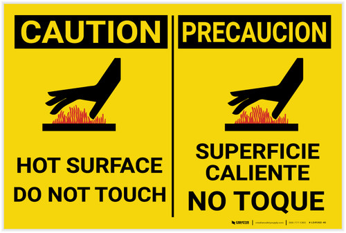 Caution: Hot Surface - Do Not Touch with Icon - Label