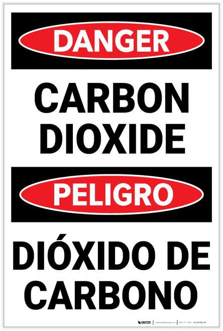 Danger: Carbon Dioxide Bilingual Spanish - Label