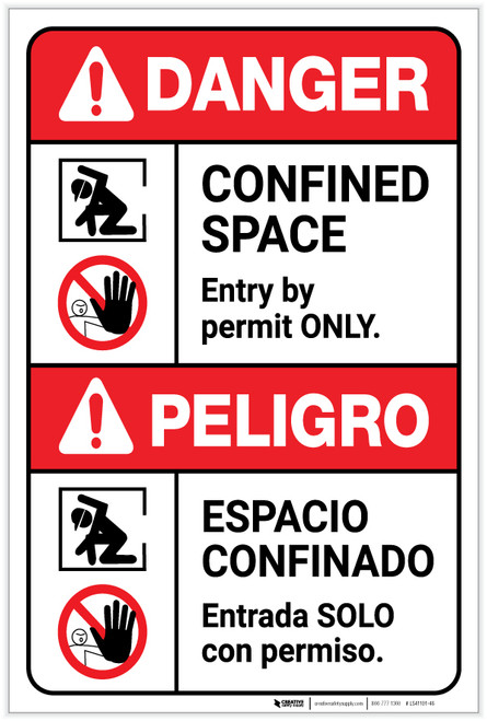 Danger: Confined Space Entry by Permit Bilingual Spanish - Label