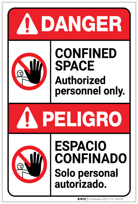 Danger: Confined Space Authorized Only ANSI Bilingual Spanish - Label