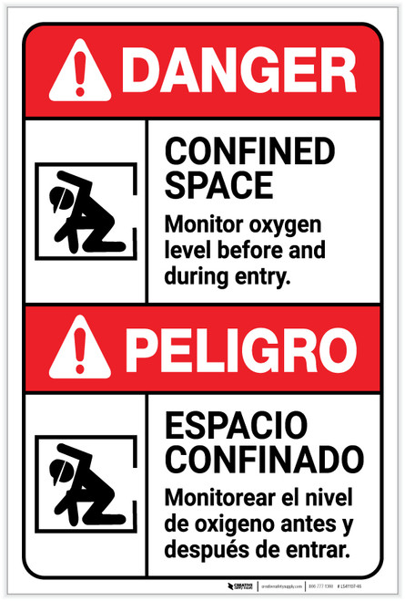 Danger: Confined Space Monitor Oxygen Level Bilingual Spanish - Label