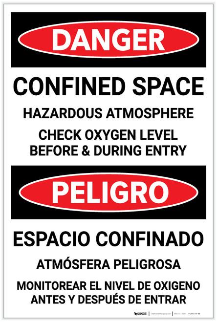 Danger: Confined Space Hazardous Atmosphere Bilingual Spanish - Label