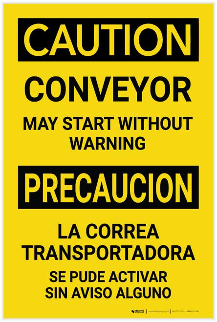 Caution: Conveyor May Start Without Warning Bilingual Spanish - Label
