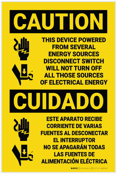 Caution: Device Powered from Seveal Sources Bilingual Spanish - Label