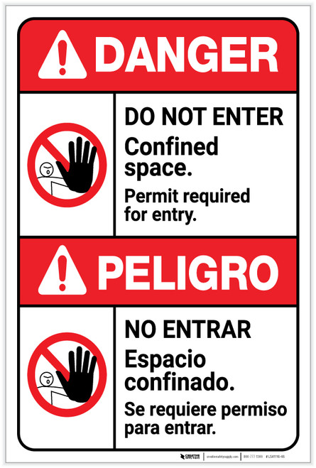 Danger: Do Not Enter - Confined Space/Permit Required ANSI - Label