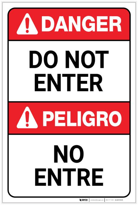 Danger: Do Not Enter ANSI Bilingual Spanish - Label