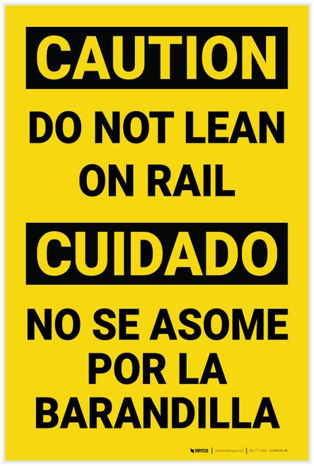 Caution: Do Not Lean on Rail Bilingual Spanish - Label
