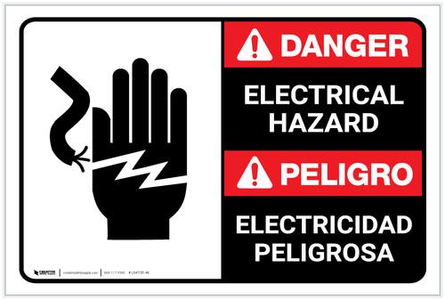 Danger: Electrical Hazard with Graphic ANSI Bilingual Spanish - Label