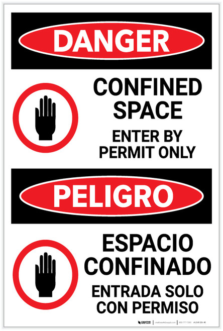 Danger: Confined Space Enter by Permit with Graphic Bilingual Spanish - Label
