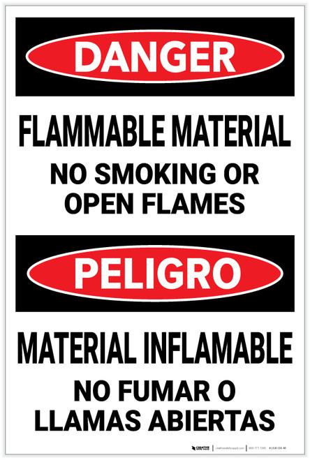 Danger: Flammable Material No smoking Open Flames Bilingual Spanish - Label