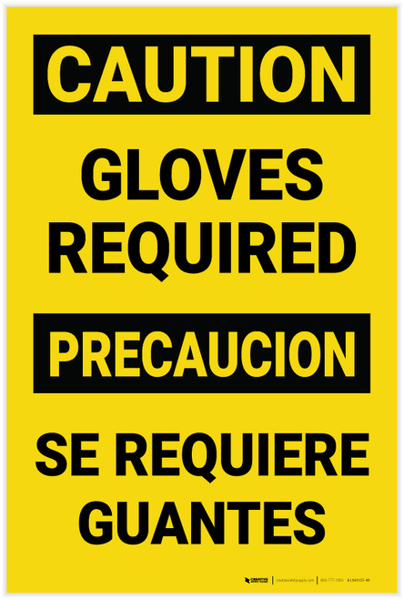 Caution: Gloves Required Bilingual Spanish - Label