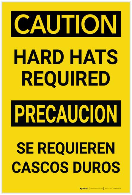 Caution: Hard Hats Required Bilingual Spanish - Label