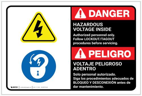 Danger: Hazardous Voltage Inside Follow Lockout Tagout Bilingual Spanish - Label