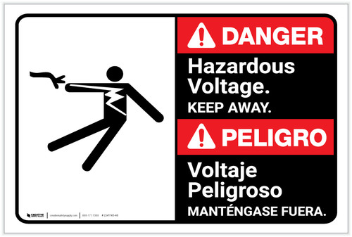 Danger: Hazardous Voltage Keep Away Bilingual Spanish - Label