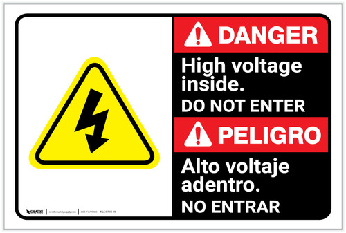 Danger: High Voltage Do Not Enter with Graphic Bilingual Spanish - Label