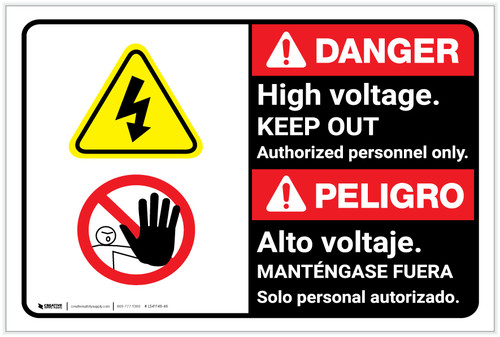 Danger: High Voltage Keep Out Authorized only with Graphic Bilingual Spanish - Label