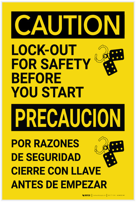 Caution: Lockout For Safety Before You Start Bilingual Spanish - Label