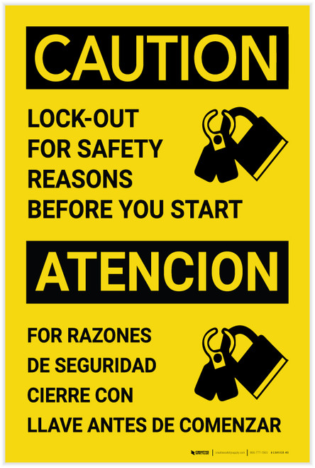 Caution: Lockout For Safety Reasons Before Starting Bilingual Spanish - Label